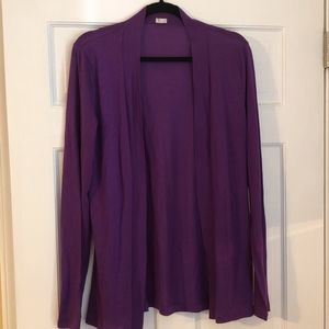 J Crew Purple Open-Front Long-Line Sweater